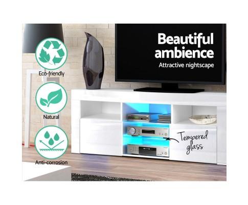 145cm Rgb Led Tv Cabinet Entertainment Unit Stand Gloss Tempered Glass Shelf White Furni L Led Tv02 Wh Ab Ozappliances